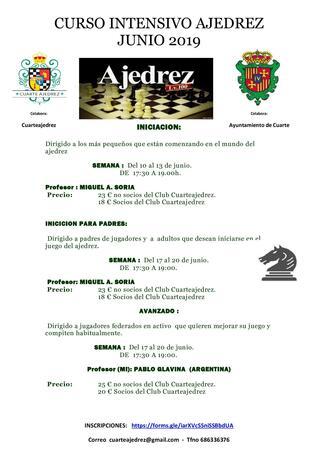 CURSO INTENSIVO AJEDREZ JUNIO 2019 - Ayuntamiento de Cuarte de Huerva